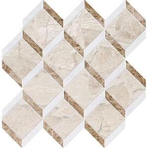 Diana Royal, Snow White Multi Finish Steps 3d Marble Mosaics 37x38