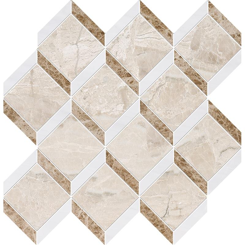 Diana Royal, Snow White Multi Finish Steps 3d Marble Mosaics 37×38