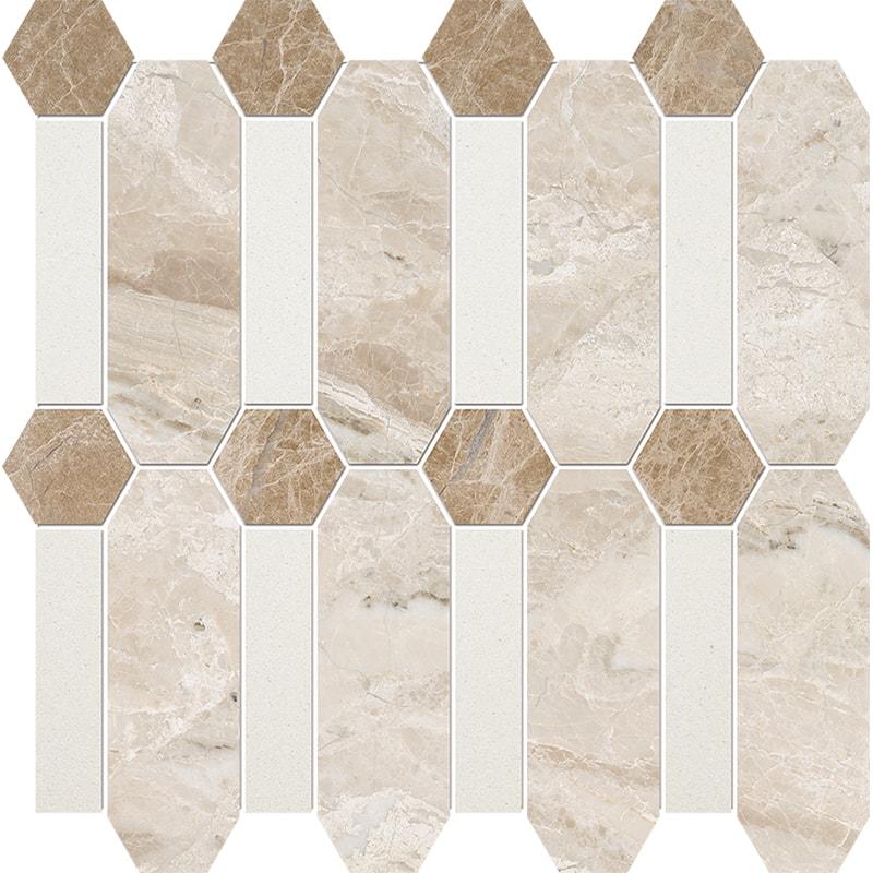 Diana Royal, Snow White, Paradise Multi Finish Pillar Marble Mosaics 33×33