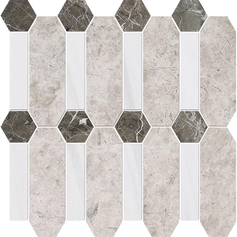 Silver Clouds, Snow White, Arctic Gray Multi Finish Pillar Marble Mosaics 33×33