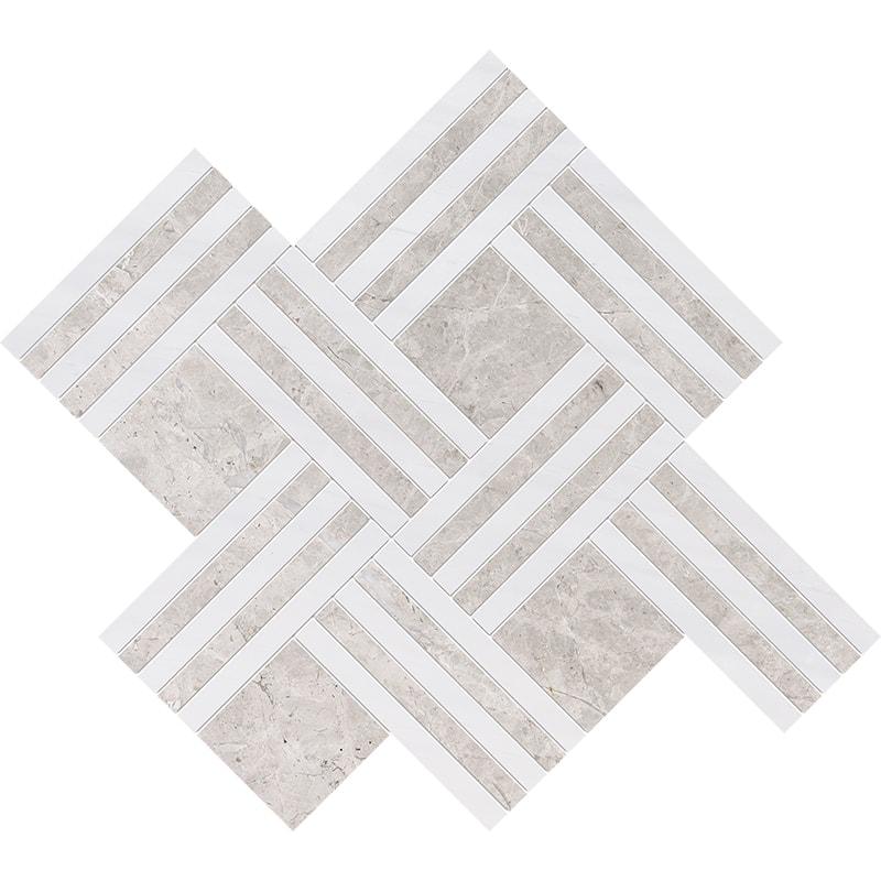 Silver Clouds, Snow White Multi Finish Maze Basket Marble Mosaics 38×45