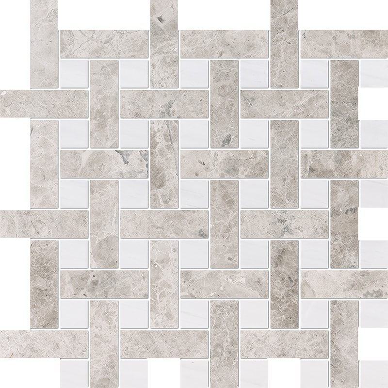 Silver Clouds, Snow White Multi Finish Basket Weave 1×3 Marble Mosaics 32×32