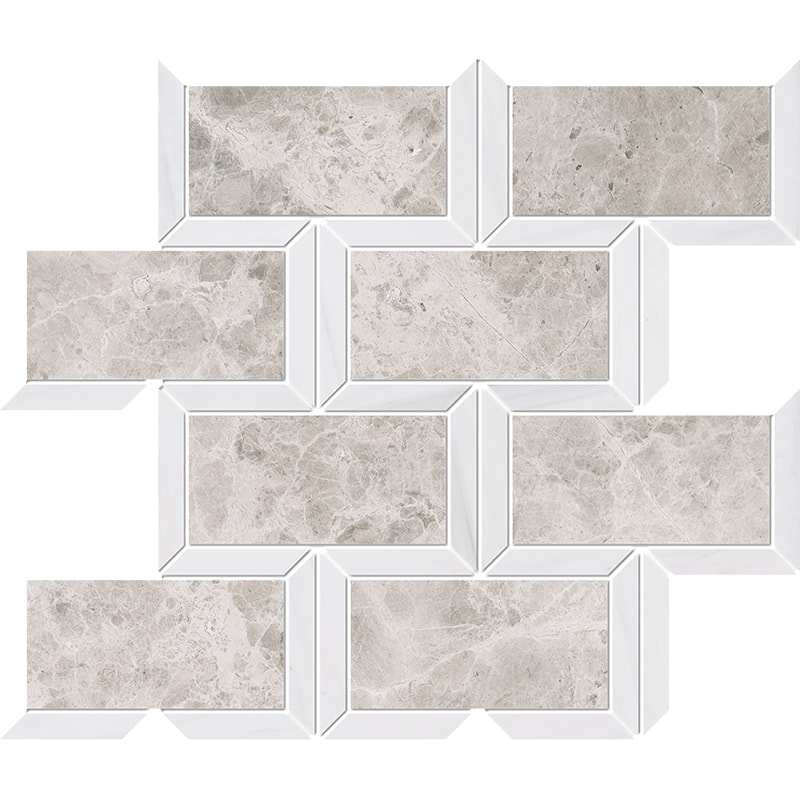 Silver Clouds, Snow White Multi Finish Cascade Marble Mosaics 24,5×30