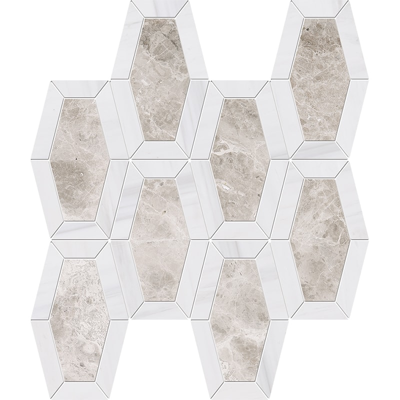 Silver Clouds, Snow White Multi Finish Lincoln Marble Mosaics 26×32,5