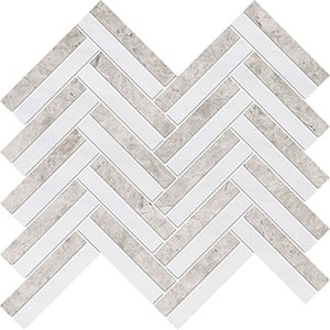 Silver Clouds, Snow White Multi Finish Raya Basket Marble Mosaics 30x31