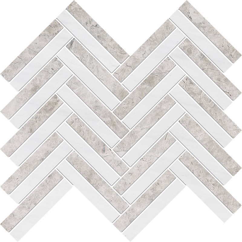 Silver Clouds, Snow White Multi Finish Raya Basket Marble Mosaics 30×31