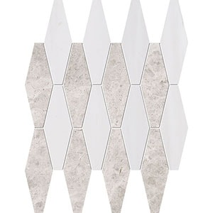 Silver Clouds, Snow White Multi Finish Rhomboid Blend Marble Mosaics 28x38