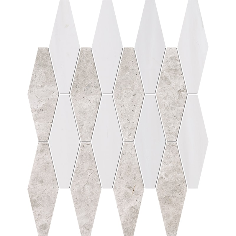 Silver Clouds, Snow White Multi Finish Rhomboid Blend Marble Mosaics 28×38