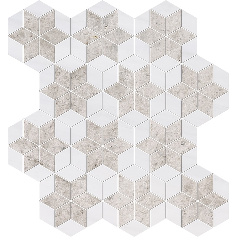 Silver Clouds, Snow White Multi Finish Stars Marble Mosaics 36×38