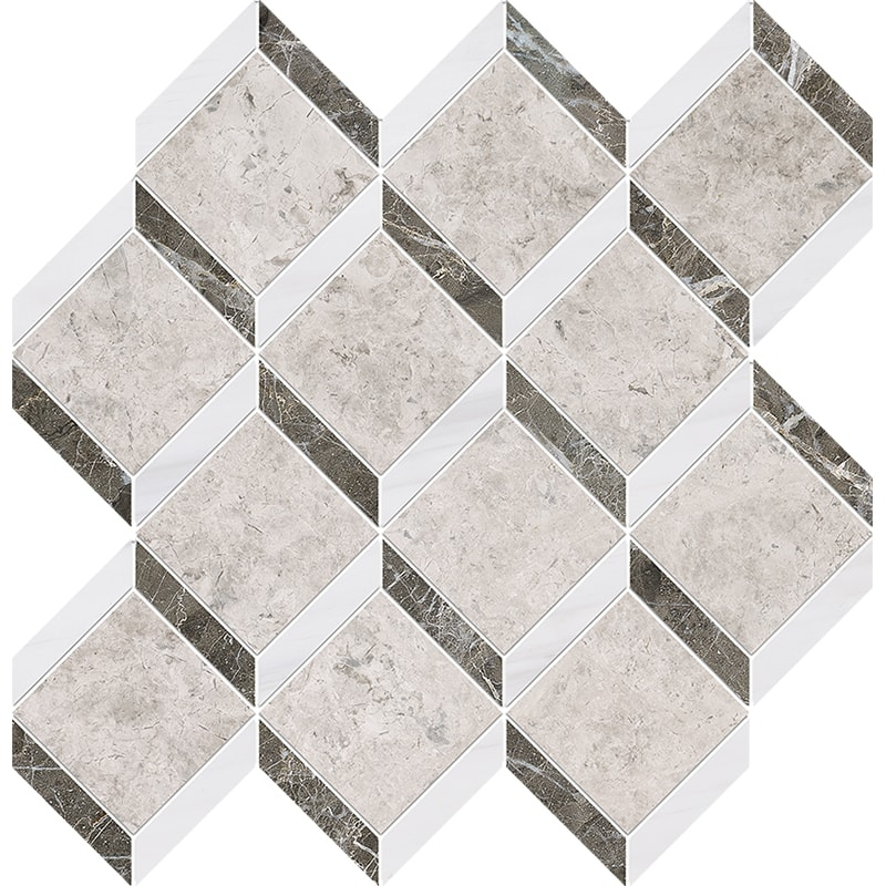 Silver Clouds, Snow White, Arctic Gray Multi Finish Steps 3d Marble Mosaics 37×38