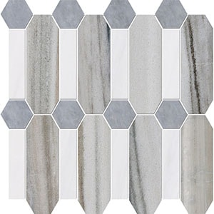 Skyline, Snow White, Allure Multi Finish Pillar Marble Mosaics 33x33