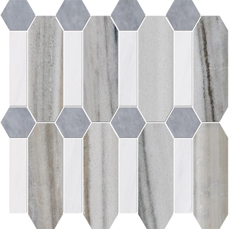 Skyline, Snow White, Allure Multi Finish Pillar Marble Mosaics 33×33