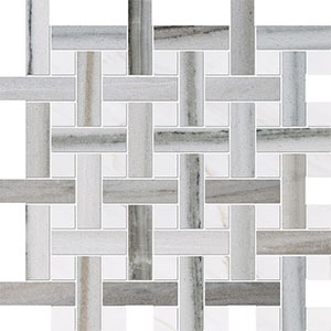 Skyline, Snow White Polished Basket Weave 1x3 Marble Mosaics 32x32