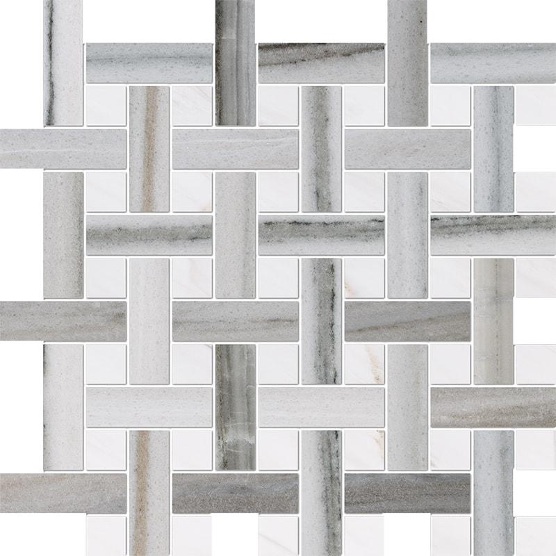 Skyline, Snow White Polished Basket Weave 1×3 Marble Mosaics 32×32