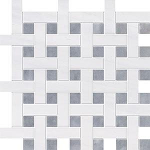 Snow White, Allure Multi Finish Basket Weave 1x3 Marble Mosaics 32x32
