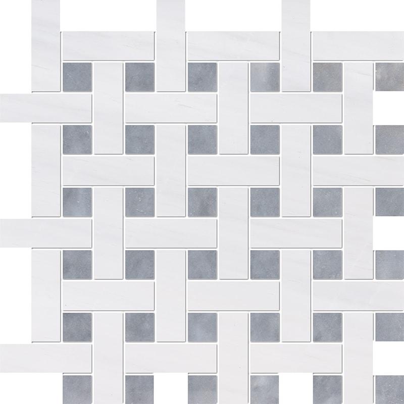 Snow White, Allure Multi Finish Basket Weave 1×3 Marble Mosaics 32×32