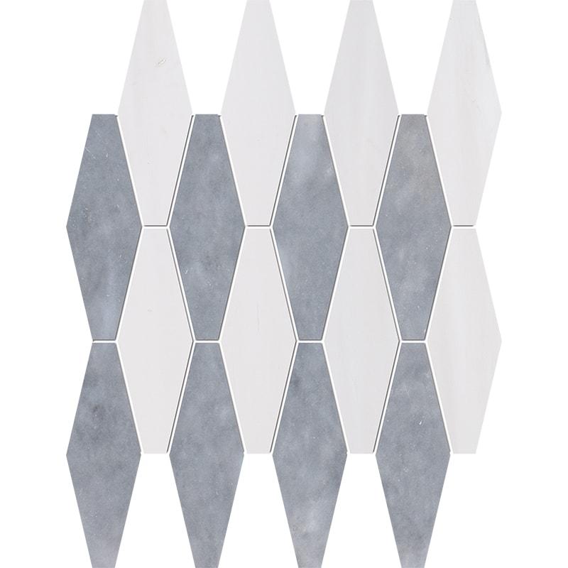 Snow White, Allure Multi Finish Rhomboid Blend Marble Mosaics 28×38