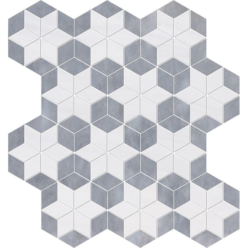 Snow White, Allure Multi Finish Stars Marble Mosaics 36×38