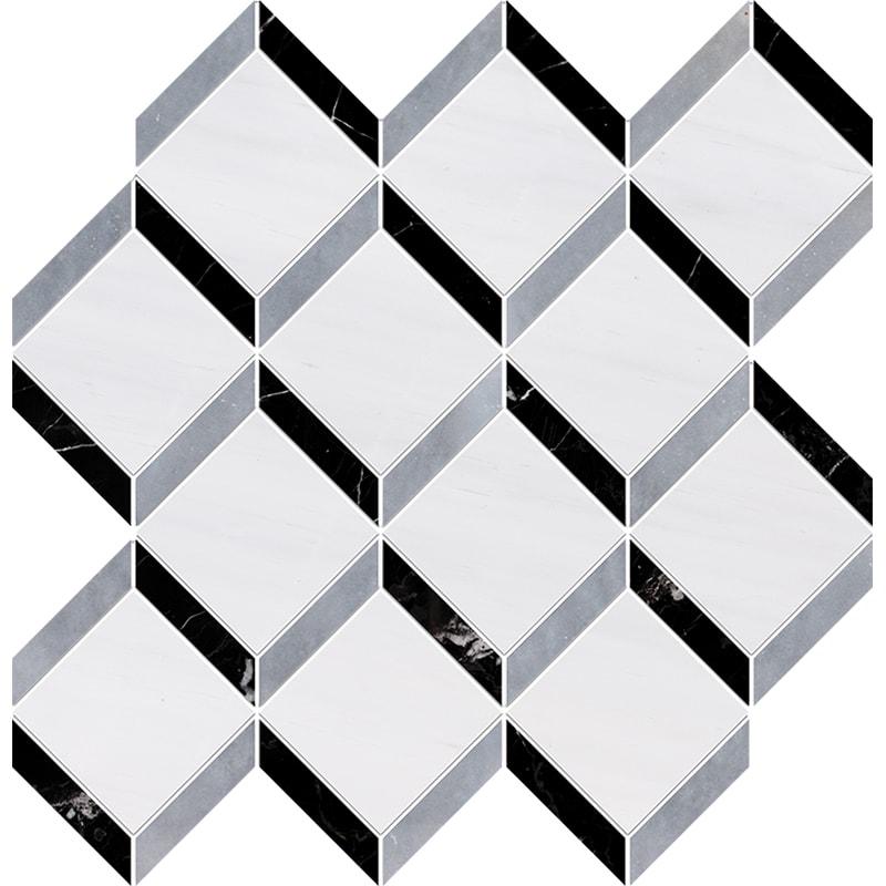 Snow White, Allure Multi Finish Steps 3d Marble Mosaics 37×38