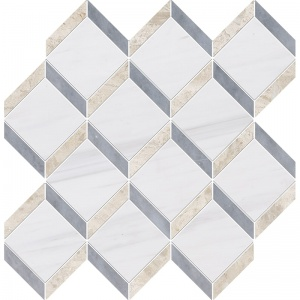 Snow White, Diana Royal, Allure Polished Steps 3d Marble Mosaics 37x38