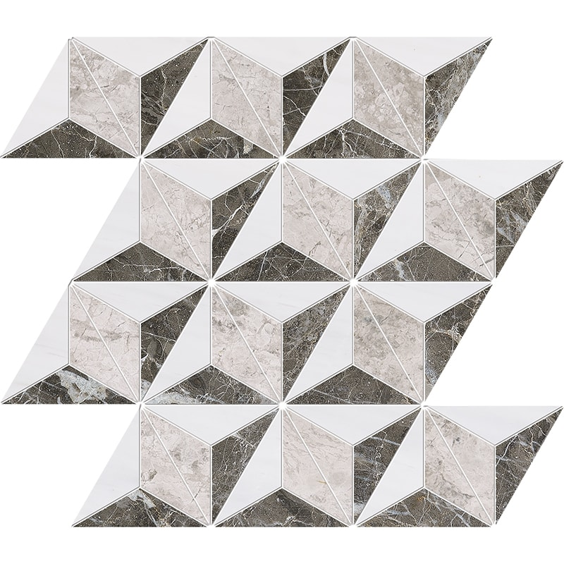 Snow White, Silver Clouds, Arctic Gray Polished Diamond 3d Marble Mosaics 39×35