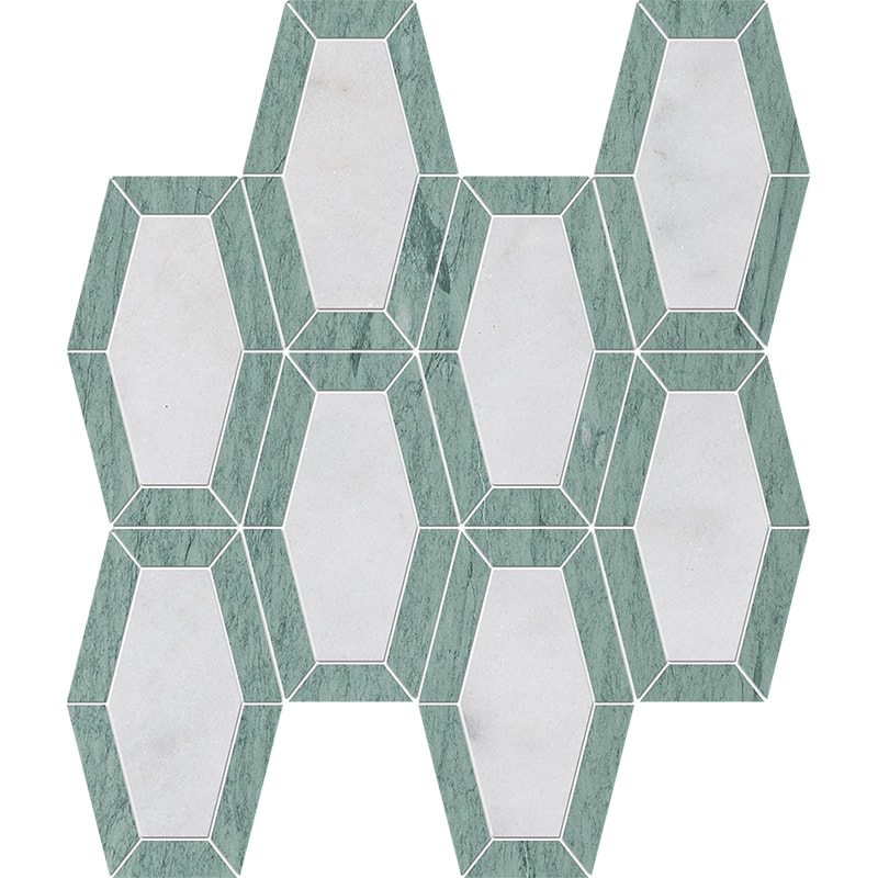 Verde Capri, Glacier Honed Lincoln Marble Mosaics 26×32,5