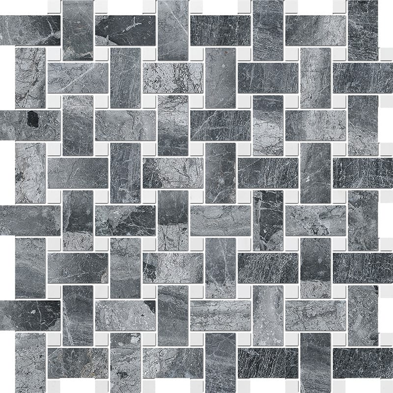 Haisa Black&snow White Polished Basket Weave Marble Mosaics 30,5×30,5