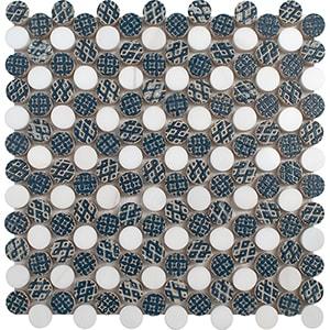 Indigo, Ottoman Textile 1, Ottoman Texti Multi Finish Penny Round 1 Marble Mosaics 25,6x25,6