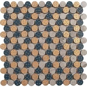 Indigo Ottoman Textile 2, Gold Ottoman T Multi Finish Penny Round 2 Marble Mosaics 25,6x25,6