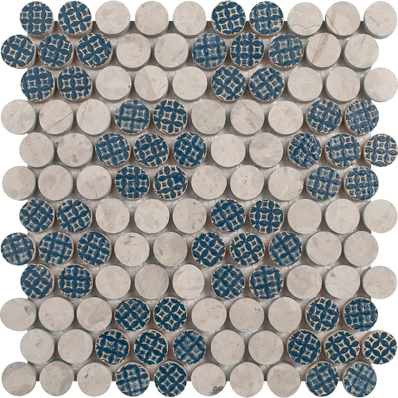 Ottoman Textile 2, Thala Gray Multi Finish Penny Round 3 Marble Mosaics 21,2×21,5