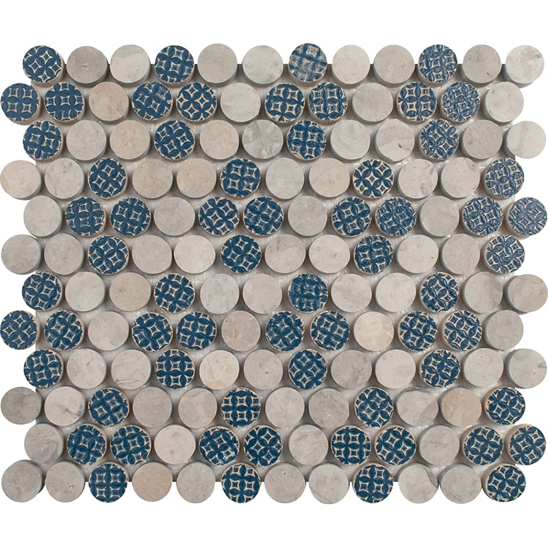 Ottoman Textile 2, Thala Gray Multi Finish Penny Round 4 Marble Mosaics 21,5×25,6