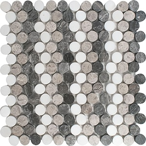 Snow White, Silver Shadow, Haisa Black Multi Finish Penny Round 5 Marble Mosaics 25,6x30