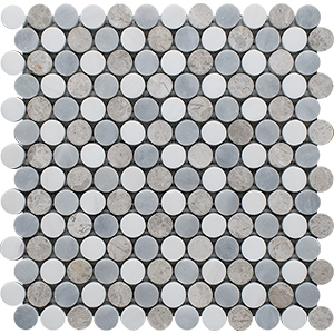 Snow White, Silver Shadow, Allure Light Multi Finish Penny Round 6 Marble Mosaics 25,6x30