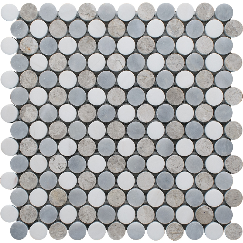 Snow White, Silver Shadow, Allure Light Multi Finish Penny Round 6 Marble Mosaics 25,6×30