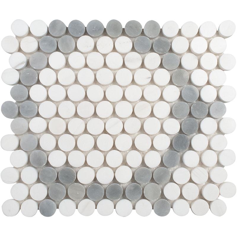 Snow White, Allure Light Multi Finish Penny Round 7 Marble Mosaics 21,5×25,6
