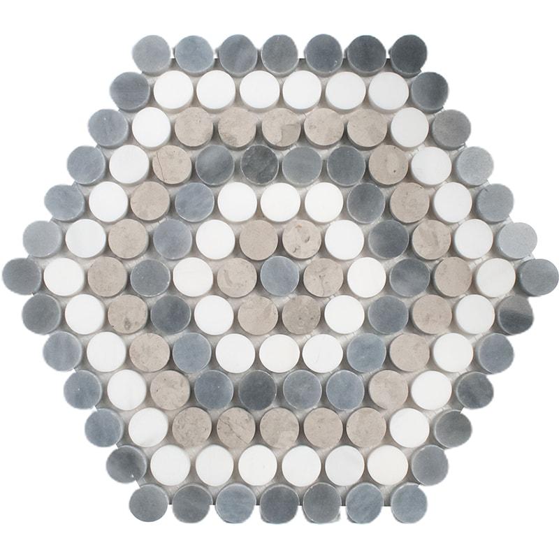 Snow White, Allure Light, Thala Gray Multi Finish Penny Round 8 Marble Mosaics 23,5×26,8