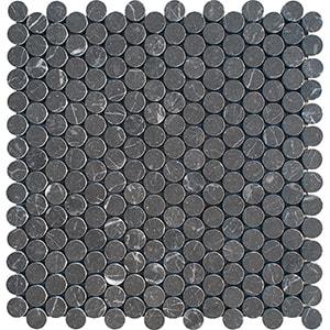 Iris Black Honed Penny Round Marble Mosaics 28,5x29,8
