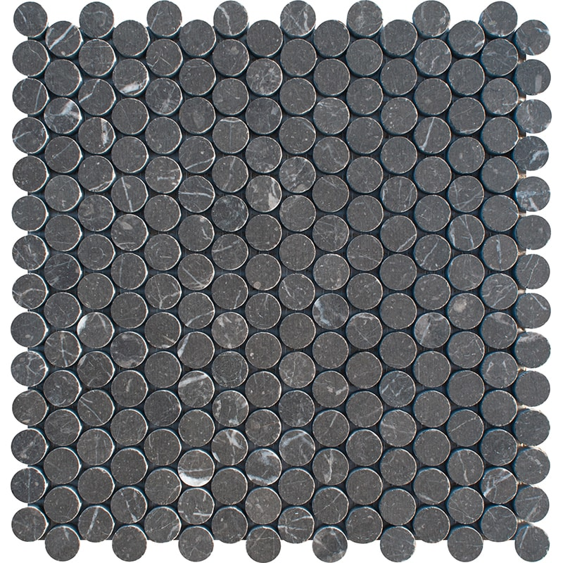 Iris Black Honed Penny Round Marble Mosaics 28,5×29,8