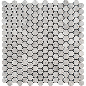 Silver Shadow Honed Penny Round Marble Mosaics 28,5x29,8