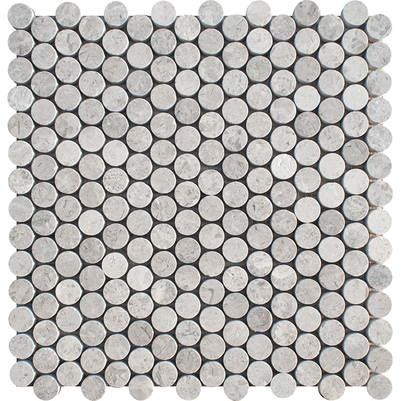 Silver Shadow Honed Penny Round Marble Mosaics 28,5×29,8