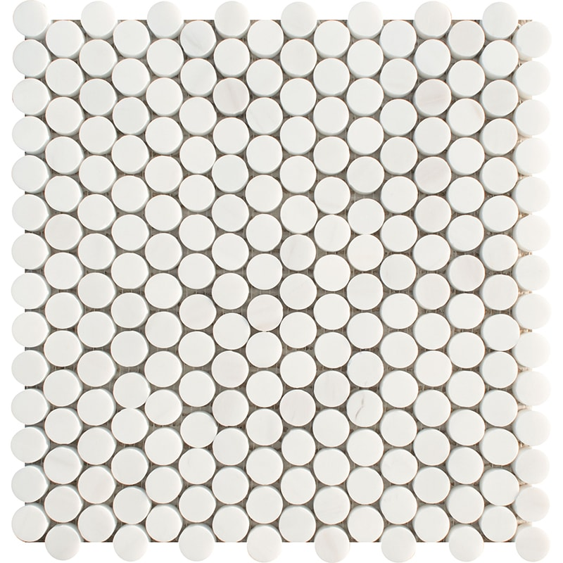 Snow White Honed Penny Round Marble Mosaics 28,5×29,8