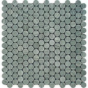 Verde Capri Honed Penny Round Marble Mosaics 28,5x29,8