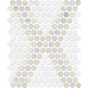 Diana Royal, Avenza, Snow White Multi Finish Penny Round Diamond 3 Marble Mosaics 27,3x32,5