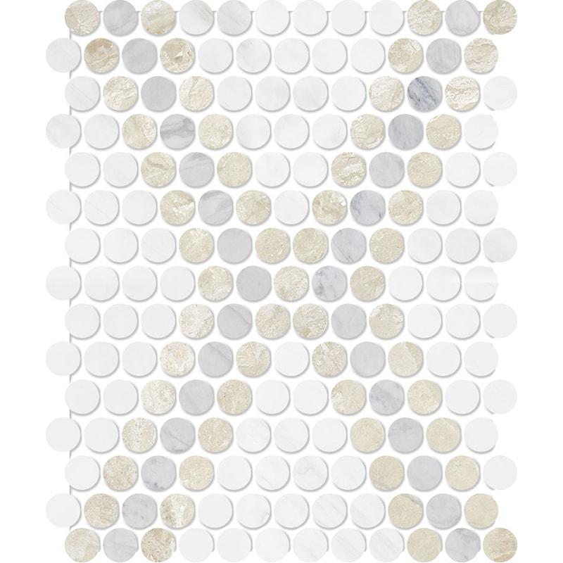 Diana Royal, Avenza, Snow White Multi Finish Penny Round Diamond 3 Marble Mosaics 27,3×32,5