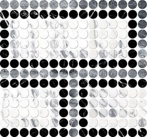 Black, Haisa Black, Calacatta Arabescato Multi Finish Penny Round Offset 2 Marble Mosaics 28,4x30,6