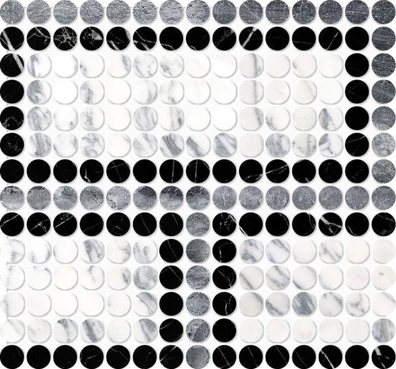 Black, Haisa Black, Calacatta Arabescato Multi Finish Penny Round Offset 2 Marble Mosaics 28,4×30,6