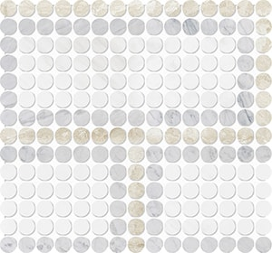 Diana Royal, Avenza, Snow White Multi Finish Penny Round Offset 3 Marble Mosaics 28,4x30,6