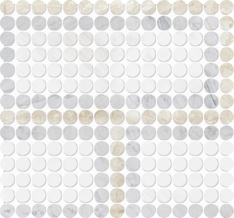 Diana Royal, Avenza, Snow White Multi Finish Penny Round Offset 3 Marble Mosaics 28,4×30,6