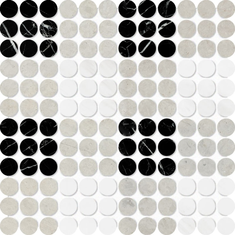 Black, Britannia, Snow White Multi Finish Penny Round Plaid 1 Marble Mosaics 26,2×26,2