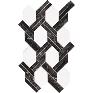 Iris Black, Snow White Honed Braided Hexagon Marble Mosaics 24,6x41,7